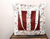 Beach Tote - Market Bag - Floral - Red and Off White  - Ruffles