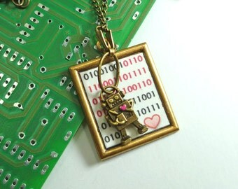 Robot Jewelry I Love You Binary Code Necklace Geekery for Science or Math Nerd Red Heart Brass Man in Front of Framed Binary Love Message!