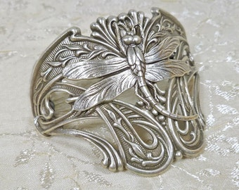 Art Nouveau Jewelry Dragonfly Half Cuff Bracelet Statement Jewelry in Silver OX, Dark Silver, or Antiqued Brass