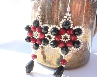 Gothic Red & Black Earrings: Red Velvet and Black Crystals with Silver Seed Beads in Right-Angle-Weave Pattern