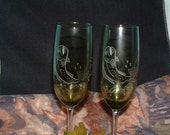 Fish Hand Etched Wine Glasses in Green