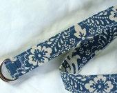 D Ring Belt, cream floral on navy, M/L