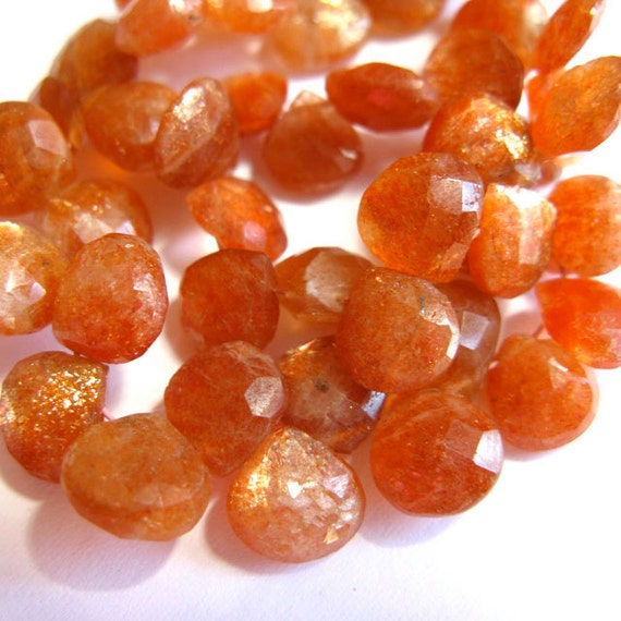 Shimmering Sunstone 8MM X 8Mm Faceted Heart Briolettes - 16 Stones - 3 Inch Strand - Gemstone Beads
