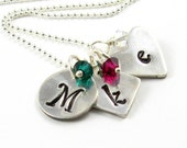 Silver Initial Necklace Personalized Jewelry Birthstone Necklace Monogram Necklace Mother's Necklace Eco Friendly