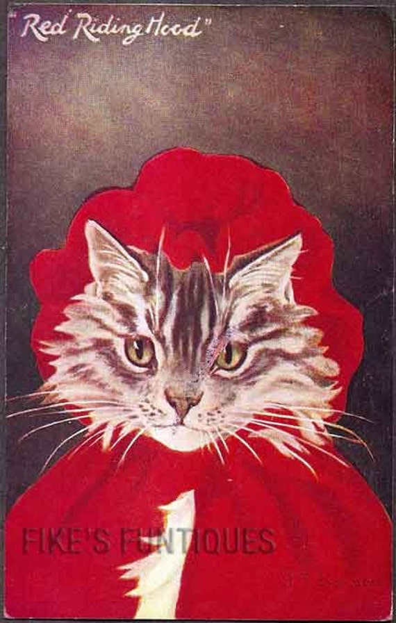 Anthropomorphic Cat 1908 Vintage Postcard - Little Red Riding Hood, Tuck Oilette
