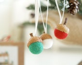 Christmas Ornament Kit, Needle Felted Acorn Decoration DIY craft handmade for your Christmas Tree, gift