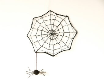 Spooky Spider Web - Needle Felted Halloween Decoration, Black and white - eek