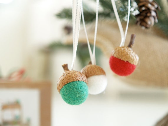 Diy Christmas Ornaments Etsy : Christmas ornament kit needle felted acorn decoration by