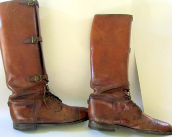 Antique US Army Riding Boots Leather Calvary Teitzel Jones WWI Military