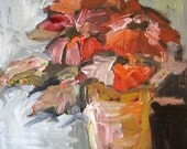 Carol's Flowers Original Oil Painting Still Life on Board 8 x 10 in Gold and Bronze