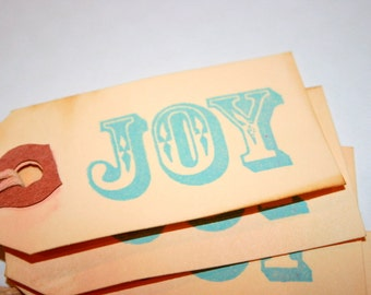 JOY Gift Tags - Shabby Vintage Chic Christmas Holiday Gift Decoration Tea Stained and Stamped Scrapbooking Cardmaking Embellishment