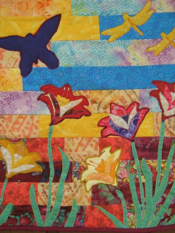 Quilt Art Wall Hanging - My Backyard