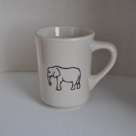 Elephant in Black & White - Ceramic Coffee or Tea Cup