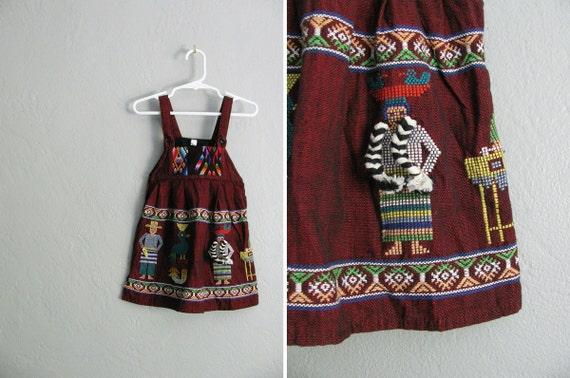 r e s e r v e d . vintage toddler girl's maroon WOVEN ETHNIC GUATEMALAN jumper dress. size 3t.