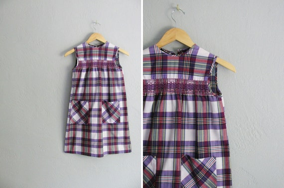 vintage girl's '60s purple PLAID sleeveless TENT dress with POCKETS. size m (10/12).