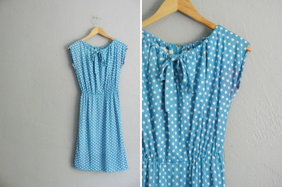 vintage '70s AQUA blue POLKA DOT dress. size s m.