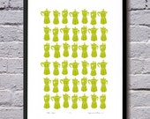 Coffee Maker Silkscreen Print (chartreuse) - UNFRAMED for worldwide delivery