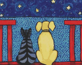 Cat and Dog Cross Stitch Kit, Shelagh Duffett art, Counted cross Stitch, Ocean View, Modern cross stitch
