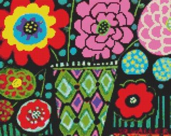 Modern cross stitch kit by Heather Galler 'Red Poppies Folk Art' - Counted crossstitch