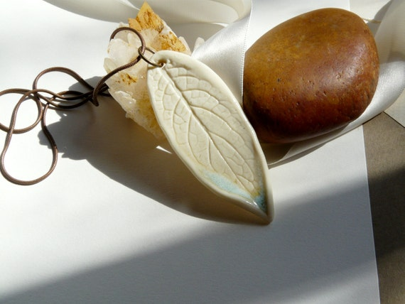 Fox GLove Leaf Porcelain Necklace from the Forest with a Brass snake chain by Sabrina Leaf