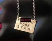 F .CKING ROCK STAR--Brass Rectangle Necklace, Men's Necklace, Father's Day, Gifts for Dad, Mature, Boyfriend, Musician, Birthday