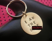 I Woke Up Like This, Gifts for Men, Flawless, I am the Shit, Diva, Stamped Keychain, Circle, Brass Key Ring, Unisex, Mens Keychain, Mature