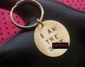 I AM THE SH-T Keychain--Stamped Disc Keychain, Brass Key Ring, Womens Keychain, Mens Keychain, Unisex, Mature, Keychain, Metal Taboo