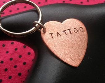 Tattoo Gift, Tattoo Artist, Tattoo Lovers, Tattoo Art, Tattoo Keychain, Tattoo Love, Copper Heart Keychain, Unisex Key Ring, Bad Ass, Badass