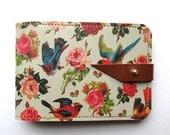 Leather card case/ Oyster card holder - Birds & Roses