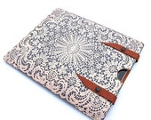 Leather New iPad case Pebble Grey ,white lace design
