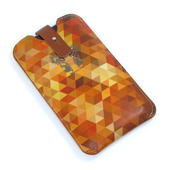 Leather iPhone 5 / new iTouch Case - Geometric Triangles in autumnal  / desert  colours