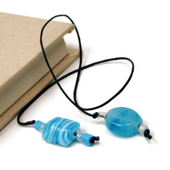 Book Thong Bookmark Beaded Blue Wave Aqua White