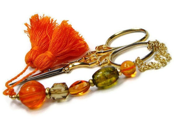 Scissor Fob Beaded Pumpkin Orange Olive Green Quilting Needlepoint Sewing Cross Stitch Hardanger Accessory