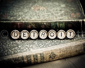 Detroit Vintage Typewriter Keys Fine Art Photographic Print on Metallic Paper