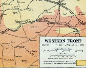 1922 Antique Map of the Great War. British and German Attacks on the Western Front - Historical Map