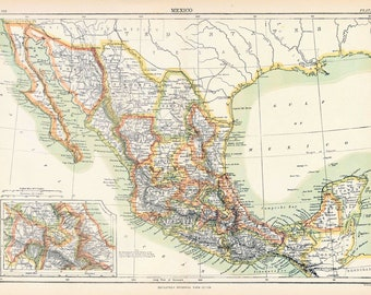 1890s Antique Map of Mexico
