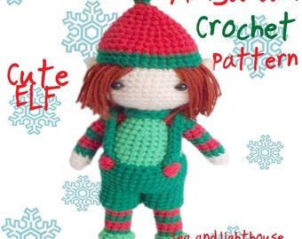 Instant Download PDF Amigurumi Crochet  Pattern - Christmas Elf boy