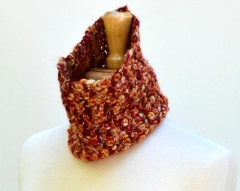 Crochet Cowl Scarf Autumn Loop Scarf Lightweight Tube