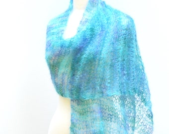 Knit Summer Shawl Aqua Lightweight Wrap Mohair Scarf