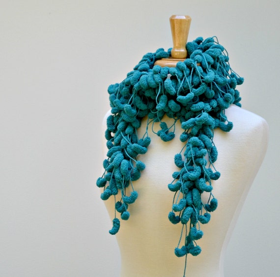 Teal Green Crochet Scarf, Pompom Scarf, Long Skinny Scarves