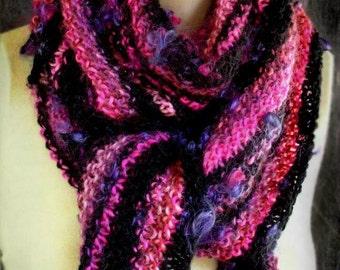 Fuchsia, Black, Pink Triangular Scarf, Soft, Handknit, 82 inches long