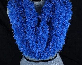 337 - Blue Furry Cowl