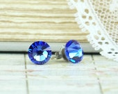 Sapphire Blue Crystal Studs September Birthstone Sapphire Blue Stud Earrings Surgical Steel Studs