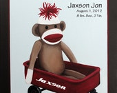 Sock Monkey Nursery, Kids Wall Art, Nursery Art for Baby Decor, Kids Art Print - class sock monkey Personalized on wagon 12x12 print