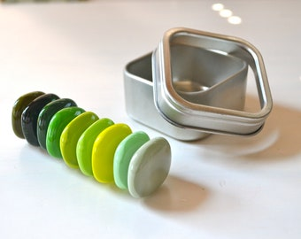 Green Rainbow Fused Glass Magnets with Tin