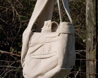 Handbag made from recycled kahki cargo pants