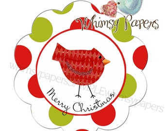 "Christmas Bird ""Merry Christmas"" Scalloped Circle Stickers - set of 50"