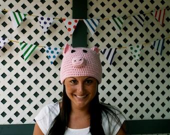 6-12 month Pink Piggy Hat