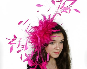 Eagle - Bright Pink Fascinator Kentucky Derby or Wedding Hat With Headband
