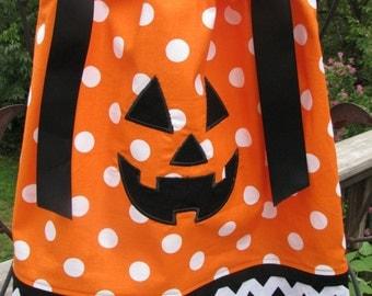 Orange Polka Dot Pillowcase Dress with Pumpkin Face (Jack o Lantern) Applique